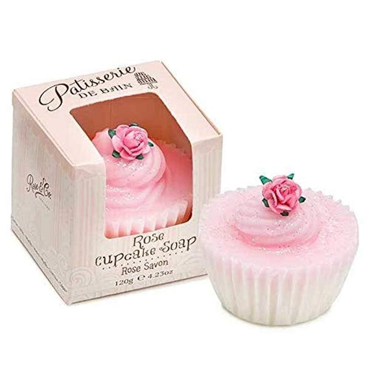 お勧め地域の市の花[Patisserie de Bain ] パティスリー?ド?ベインは、カップケーキ石鹸120グラムのバラ - Patisserie de Bain Rose Cupcake soap 120g [並行輸入品]