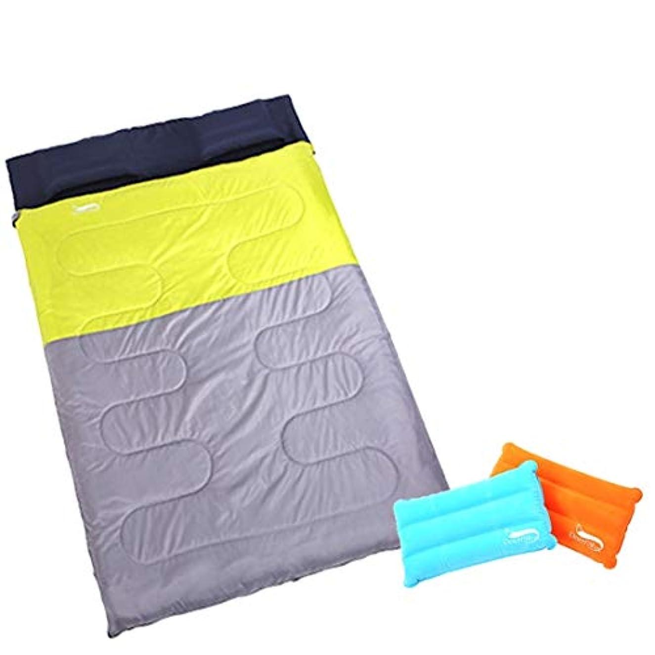 設計活気づける間欠Kerwinner 屋外の寝袋二重春と秋の冬の肥厚キャンプの昼休みの寝袋は分割することができます (Color : Green ash)