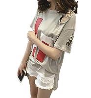 Vcbpq 半袖 Tシャツ 夏物 半袖Tシャツ ロング ゆったりTシャツ 切り替え Tシャツ(グレーXL)