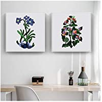 ヴィンテージポスター花のイラストアート美しいファンタジー植物花キャンバスプリント壁の写真のリビングルームの家の装飾(フレームなし)60x60cmx2