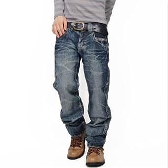 ワインレッドステッチ ストレートデニムパンツ ジーンズ メンズ Sサイズ ブルー