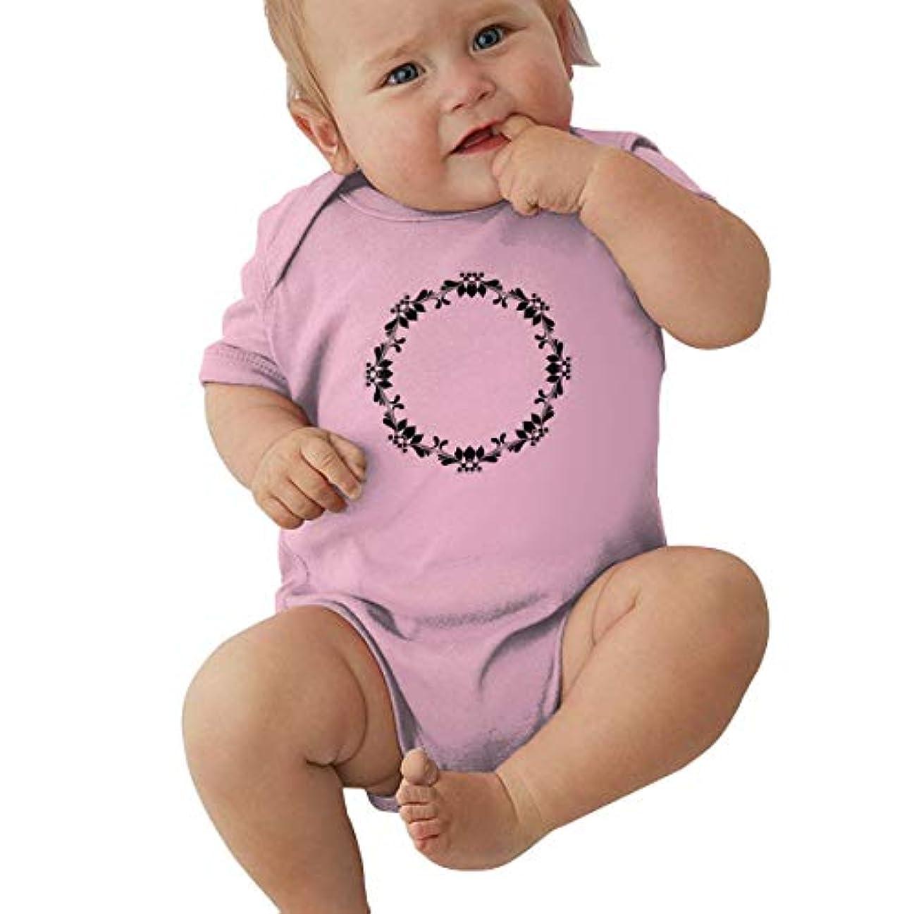 チロ急流海外ラウンドネックベビージャージーボディスーツ綿半袖 Circle Flower Frame Black