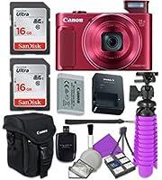 Canon PowerShot sx620HS Wi - Fiデジタルカメラ(レッド) with 2x SanDisk 16GB SDメモリカード+三脚+ Canonケース+カードリーダー+クリーニングキット