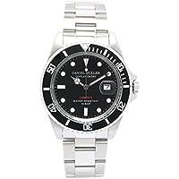 [ダニエル・ミューラー]DANIEL MULLER 腕時計 オールステンレス 10気圧防水 ダイバーズウォッチ DM-2018BK ブラック