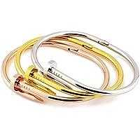 【ノーブランド品】モダンアートな釘 くぎ クギ チタン ブレスレット ゴールド バングル ネイル nail design bracelet (シルバー)