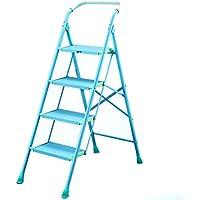 ステップスツール、ヨーロッパスタイルのシンプルなブルーとピンクのアルミニウム合金、ラダー3、4段ホーム折りたたみラダーヘリングボーンワイドペダルエンジニアリング階段スツールは、多機能 (色 : Blue, サイズ さいず : 4 layers)