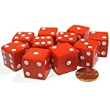 [Koplowゲーム]Koplow Games Set of 10 Large Six Sided Square Opaque 19mm D6 Dice Red with White Pip Die 2089 [並行輸入品]