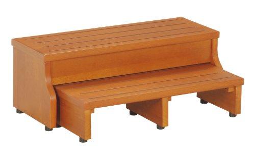 不二貿易 玄関台 踏み台 幅60cm ブラウン スライド 天然木 フィット 10199