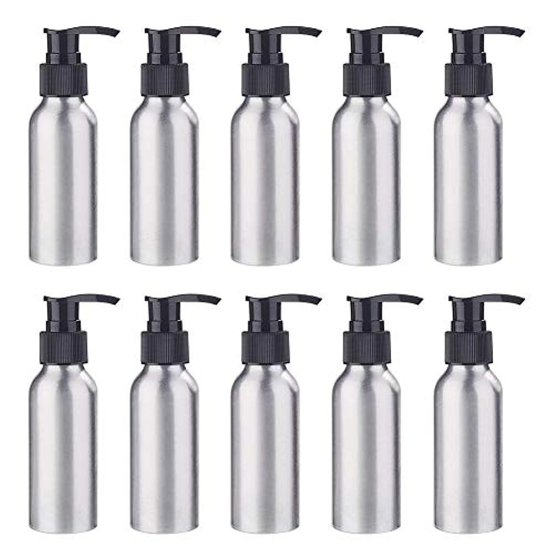 優越承認段階BENECREAT 10個セット100mlポンプアルミボトル 空ボトル 防錆 軽量 化粧品 クリーム シャンプー 小分け 詰め替え 黒いポンプ