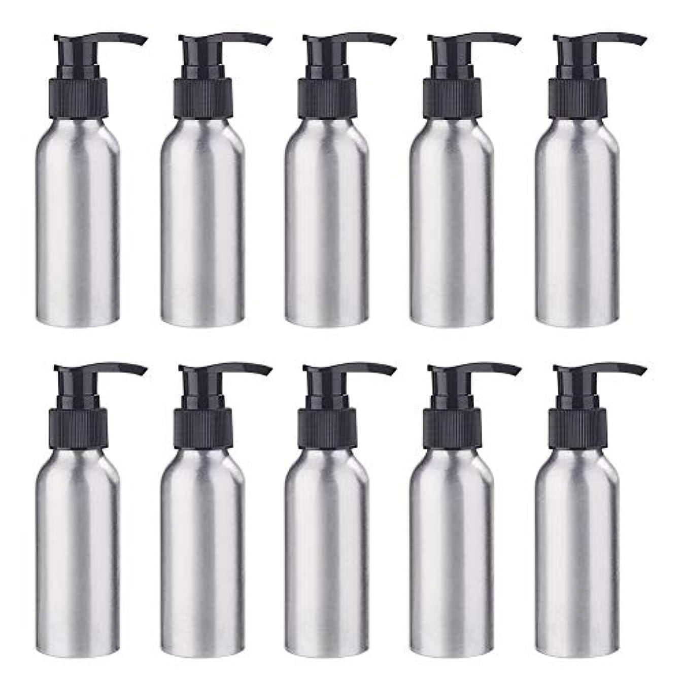 雇用者懇願する世界BENECREAT 10個セット100mlポンプアルミボトル 空ボトル 防錆 軽量 化粧品 クリーム シャンプー 小分け 詰め替え 黒いポンプ