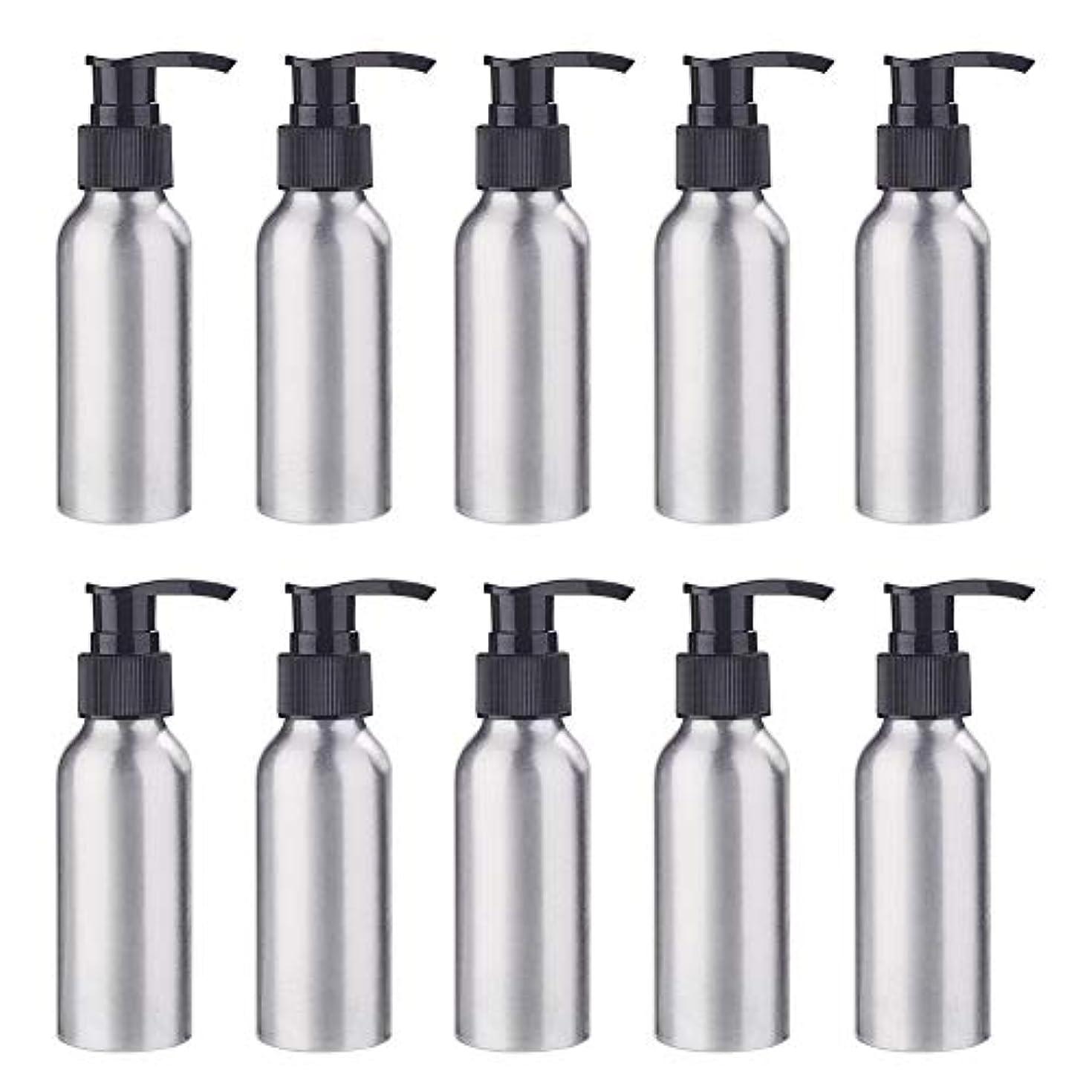 喜び卒業先見の明BENECREAT 10個セット100mlポンプアルミボトル 空ボトル 防錆 軽量 化粧品 クリーム シャンプー 小分け 詰め替え 黒いポンプ