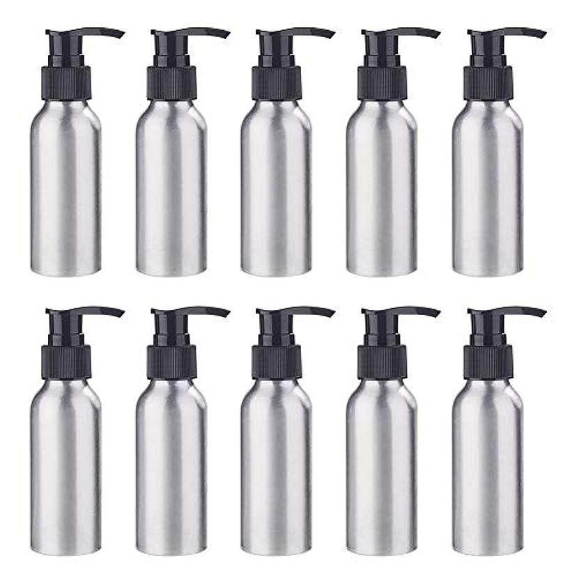 配送遠洋の活性化BENECREAT 10個セット100mlポンプアルミボトル 空ボトル 防錆 軽量 化粧品 クリーム シャンプー 小分け 詰め替え 黒いポンプ