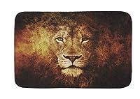 """かわいい動物玄関ドアマットエントランスマットフロアマットウェルカムマット/アウトドア/フロントドア/バスルームマット敷物自宅用/オフィス用/寝室用スリップバッキング(30"""" L X 18"""" W、Art Lion) 80x50cm"""