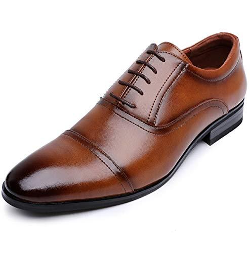 [ロムリゲン] ビジネスシューズ 革靴 メンズ 本革 レースアップ 内羽根 ストレートチップ 紳士靴 ブラウン 25.0cm 519-02
