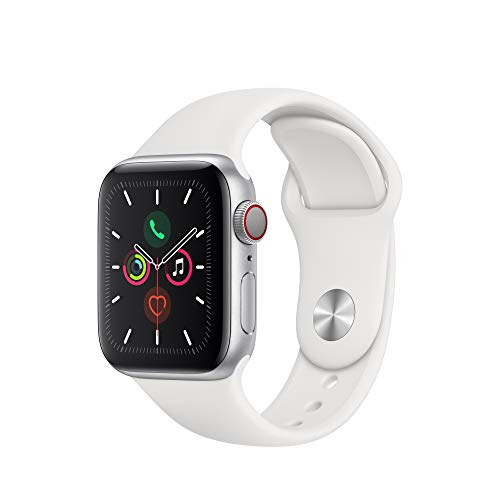 Apple Watch Series 5(GPS + Cellularモデル)- 40mmシルバーアルミニウムケースとホワイトスポーツバンド - S/M & M/L