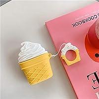 YZY 1/2世代の保護カバーワイヤレスBluetoothヘッドセットかわいい漫画のシェル (Color : Ice cream/white)
