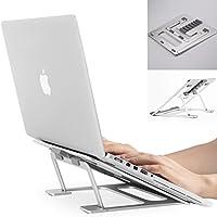折りたたみ式 ノートパソコン/タブレット PC スタンド 6段階角度調整可能 オールアルミ製 Macbook/ipadなど向け パソコン冷却に効く 姿勢調整 滑り止め 軽量 持ち運び&収納便利 シルバー (6種角度調整)