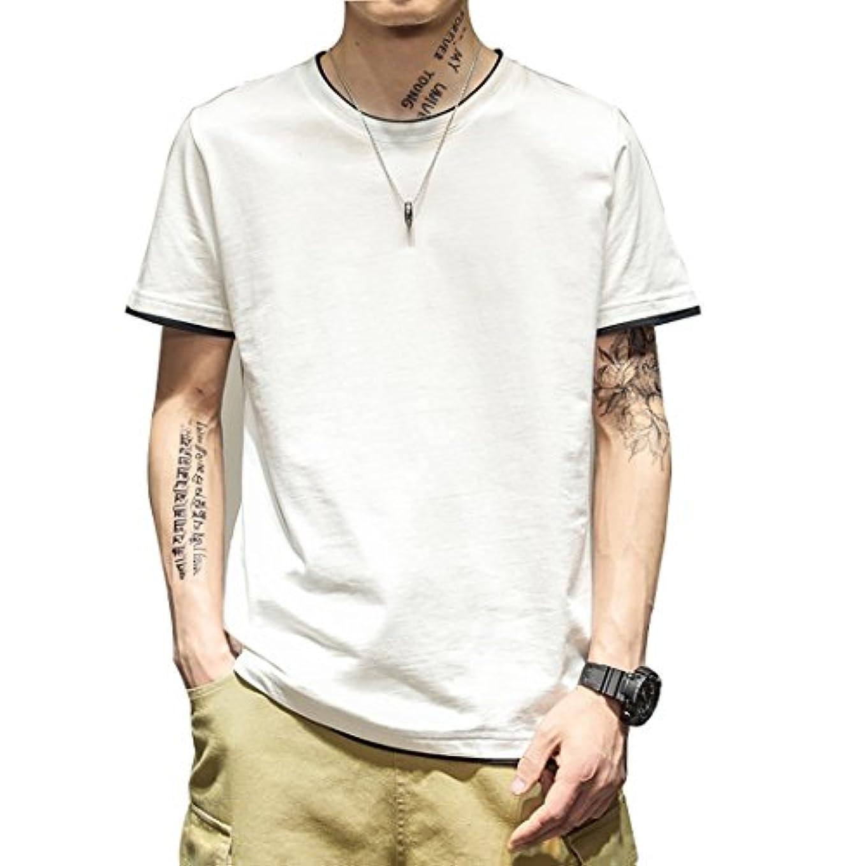 対人ピース急ぐHiloyaya メンズ ゆる シルエット重ね着風 半袖 Tシャツ コットン100% カットソー 無地 カジュアル おしゃれ