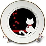 Charlyn Woodruff – CW Designs Whimsicalコレクション – ペットLovers Red HeartsホワイトKitty Cat – プレート 8-Inch cp_164792_1