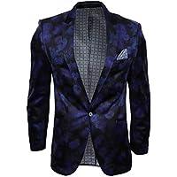 harry brown Mens Velvet Floral Paisley Slim Fit Blazer Tuxedo Dinner Jacket Smart Casual