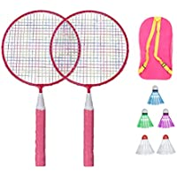 LIOOBO Kids Badminton Set Ball Badminton Rackets Set Kids Play Game Toy with Three Balls and Storage Bag Pink
