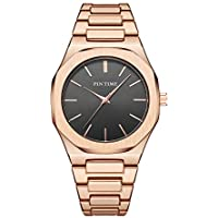 Mens Fashion Watch Waterproof Dress Watches for Man Silver Rose Gold Minimalist Woman Analog Watch with Stainless Steel Band