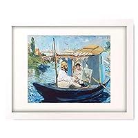 エドゥアール・マネ Edouard Manet 「アトリエ舟の中のモネ The Boat. (Claude Monet in his Floating Studio). 1874」 額装アート作品