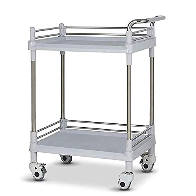 ゴミ箱を空にする突進広く車輪が付いている医学のトロリー、2層の美容院のカート、ABS理髪カート、理髪師の処置の棚の構造のカート,ベージュ