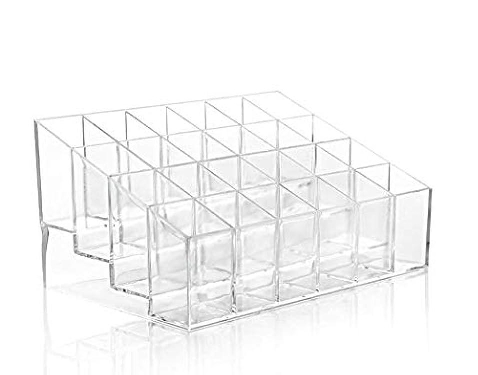 360MALL 化粧品ホルダー 台形メイクアップ コスメ収納スタンド 口紅ホルダー 透明プラスチック製 化粧品ディスプレイスタンド リップスティック ホルダー 24仕切り