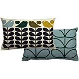2 X Feather Filled Orla Kiely Early Bird Spring 30cm x 50cm Cushions Throw Pillow Cases