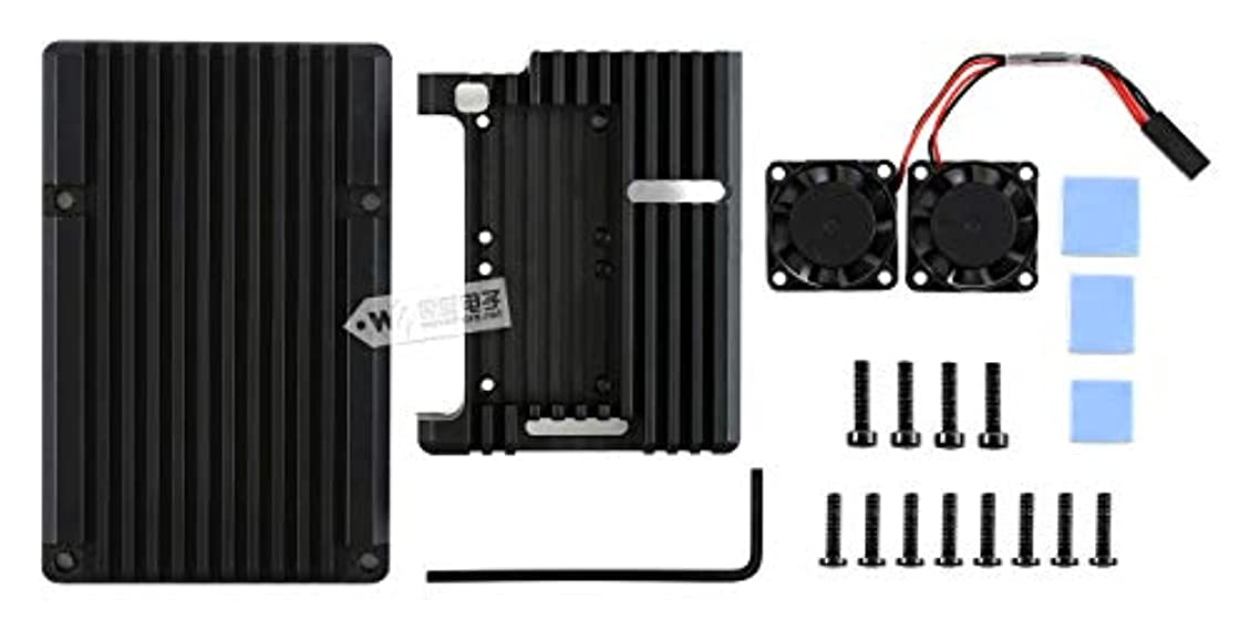 ファンブル鳩委託PI4-CASE-C Raspberry Pi 4ケース Type C アルミニウム合金ケース Raspberry Pi 4用 Black Armour、デュアル冷却ファン