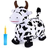 iPlay, iLearn Cow Hopping Horse, Outdoors Ride On Bouncy Animal Play Toys, Inflatable Hopper Plush Covered with Pump, Activities Gift for 3, 4, 5 Year Old Kids Toddlers Boys Girls