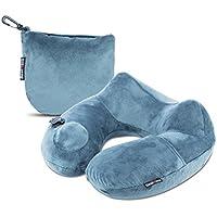 ネックピロー BestMaxs 枕 トラベルピロー 旅行便利グッズ トラベル 飛行機 持ち運び便利 手動プレス式 洗えるカバー (グレー)