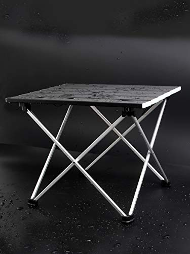 Mistart ロールテーブル 折りたたみテーブル アルミ製 コンパクト アウトドア キャンプ ハイキング 耐荷重30kg 収納ケース付き 一年間保証 ブラック