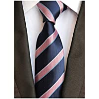 Men Classic Striped Check Tie Jacquard Woven Repp Formal Business Slim Neckties