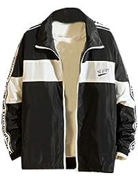 gawaga 男性のレタープリントジャケットヒップポップロングスリーブジャケット
