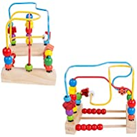 Pevor木製ビーズ迷路Roller Coaster教育玩具 – Bead Maze木製Manipulativeおもちゃfor Toddlers Kidsベビー、Interactive幼児用おもちゃ円First Bead Maze for Boys Girls