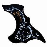 Han's life アコースティック ギター用 ピックガード ハミングバード、花柄 PVC製 ブラック