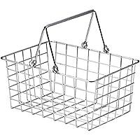 『ワイヤー』四角タイプかごバスケット「26×18×12cm」(片手持ち)