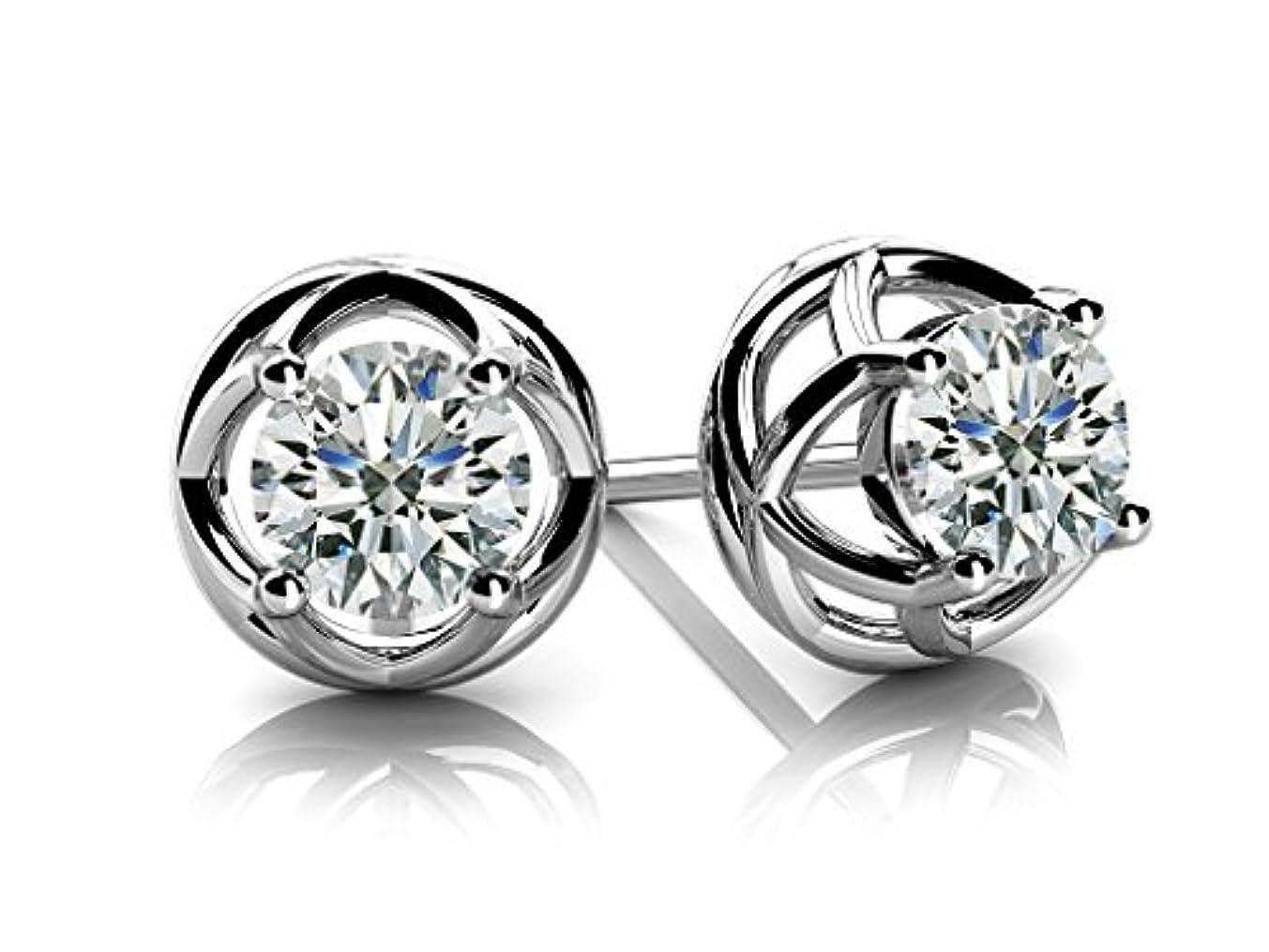 流行アブストラクト炎上Smjewels 0.24 ctw ラウンド 人工ダイヤモンド ソリティア スタッドピアス 14K ホワイトゴールド Fn