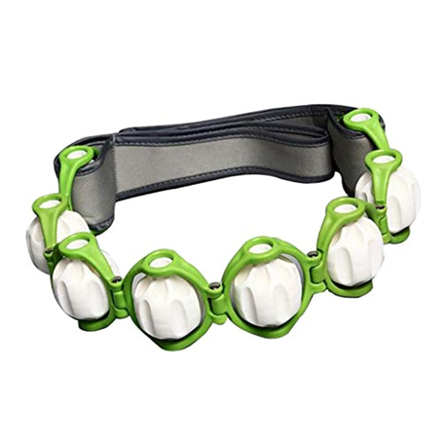 実施する荒野スリットトリガーポイントノードローリングボール付きハンドヘルドフルボディマッサージローラーロープ - 緑, 説明したように