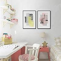 家の装飾 ピンクイエローインク抽象絵画、北欧/モダンミニマリストスタイル、弱溶媒キャンバス、色あせ防止、黒PSフォトフレーム、屋内ポーチ装飾絵画、スリーピース、6サイズ ホームデコレーションアクセサリー (Size : 35x50cm)