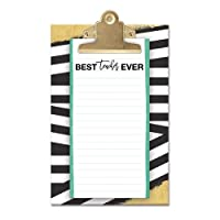 Lady Jayne Clipboard With Notepad (BW Teacher Stripe) [並行輸入品]