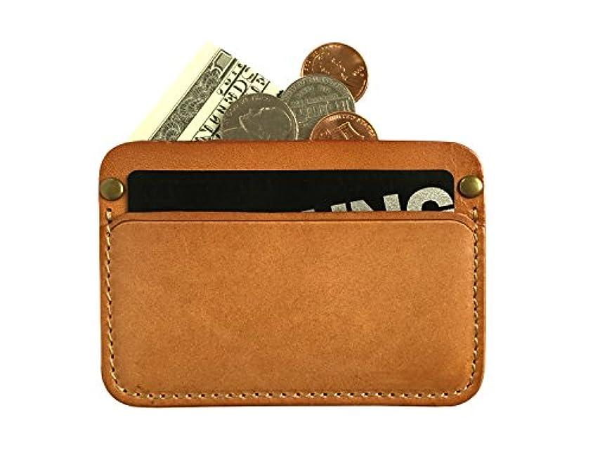 患者救出欺くメンズミニマリストカードケース – 超薄型本革カードホルダーフロント財布財布。。。 カラー: ベージュ