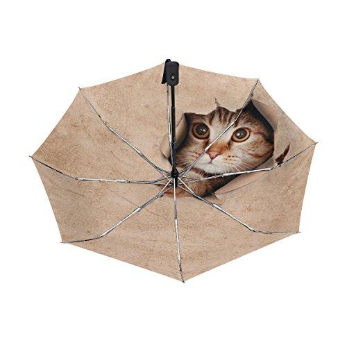 マキク(MAKIKU) 折り畳み傘 自動開閉 レディース 軽量 ワンタッチ 日傘 晴雨兼用 かわいい 猫柄 おもしろ 茶色 uvカット 紫外線対策 頑丈な8本骨 耐風 撥水 グラスファイバー 収納ケース付
