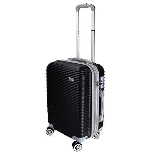 【バギング】 BAGING 軽量 拡張ファスナー付き S,M,Lサイズ スーツケース キャリーバッグ 8輪キャスター TSAロック付き (Sサイズ(1-3泊用 40/50L), ブラック)