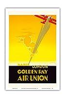 ロンドンパリ - ゴールデン線 - 航空連合、フランスの航空会社 - ビンテージな航空会社のポスター によって作成された エドモンド・マウルス c.1929 - アートポスター - 31cm x 46cm