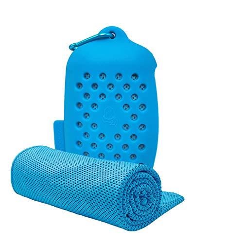 ASKARI 冷感タオル 冷却タオル クールタオル 速乾タオル スポーツタオル 熱中症対策 100×30cm 7色 (ブルー)