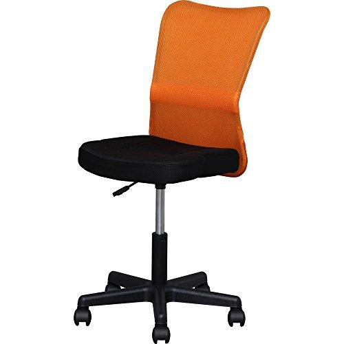 アイリスプラザ オフィスチェア メッシュ バックチェア 腰サポートバー 調節バー付き オールシーズン オレンジ