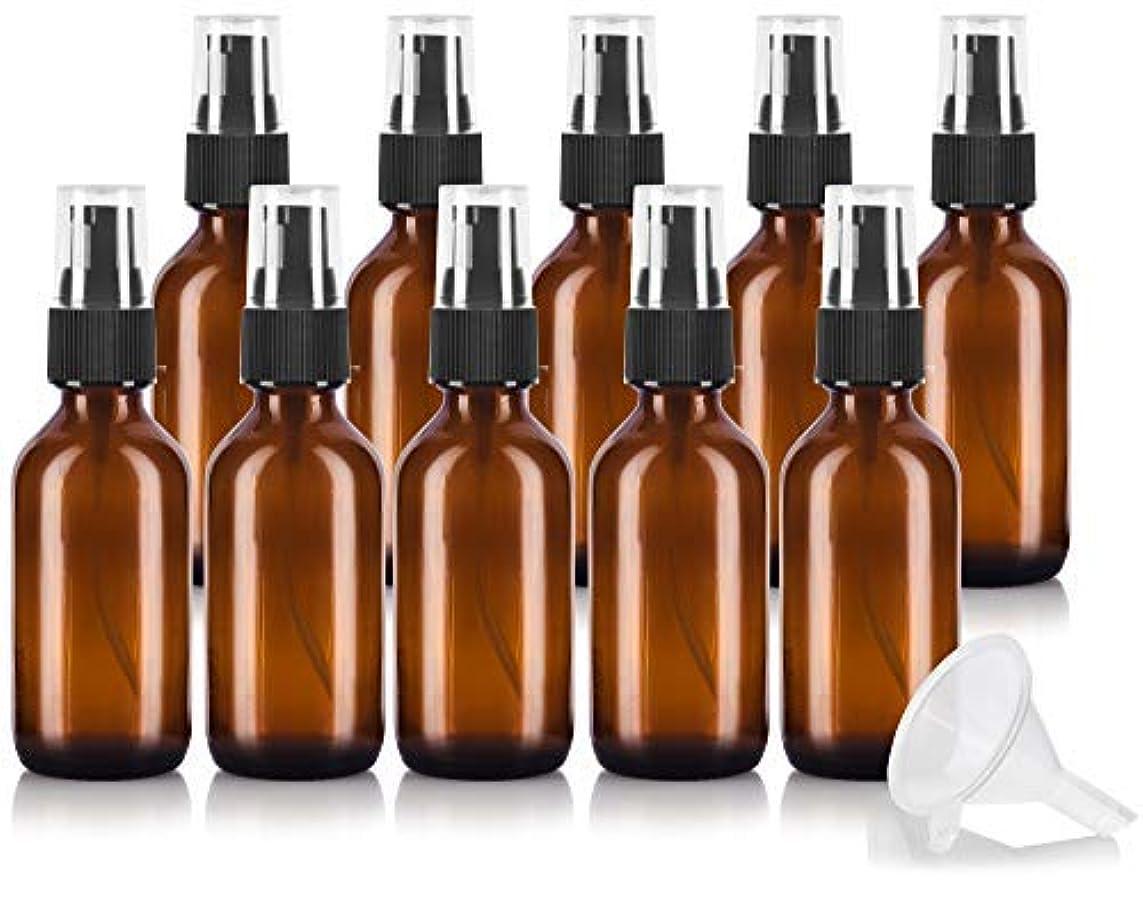 バイオレット写真の前提2 oz Amber Glass Boston Round Treatment Pump Bottle (10 pack) + Funnel and Labels for essential oils, aromatherapy...